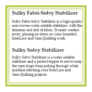 Sulky Stabilizers Header